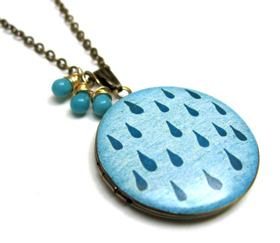 Bright Blue Rain Drop XL Handpainted Brass Locket with Blue Czech Glass Drops 14K Gold Wire