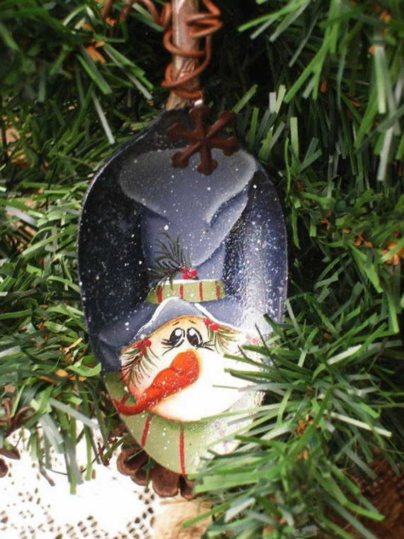 snowman hand painted vintage large silver serving spoon
