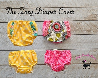 Diaper Cover Sewing Pattern, PDF sewing pattern, Bloomers, Baby, Girls, Instant Download...The Zoey Diaper Cover, newborn through 24 months