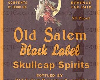 Vintage Halloween Witch Potion Bottle Label Digital Download Printable Clip Art Image Skullcap Spirits