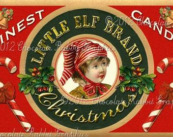 Christmas Vintage Tag Printable Label Little Elf Digital Collage Sheet Graphics Scrapbook Image