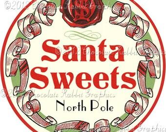 Vintage Christmas Candy Label Digital Download Printable Image Santa Collage Scrapbook Sheet