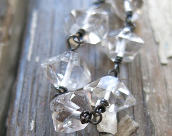 Herkimer diamond necklace, clear crystal and oxidized sterling silver necklace