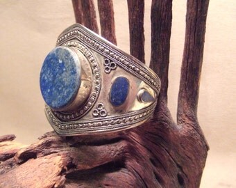 Tribal silver cuff bracelet -- old Kuchi jewelry -Lapis stones -- heavy patina FREE SHIPPING SALE