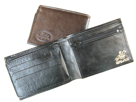 Men's Leather Wallet - a Small Sized Wallet for Men - in SHINY CLASSIC BLACK (No. 784)