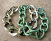 Chunky Chain Bracelets, Set of 2 - Sage Green Colorful Big Bold Chain Links - Sage Sunset