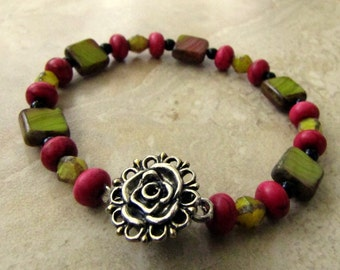 Beaded Bracelet - Pink and Chartreuse Beaded Floral Czech Glass Bracelet - Retro Garden (Ready to Ship)