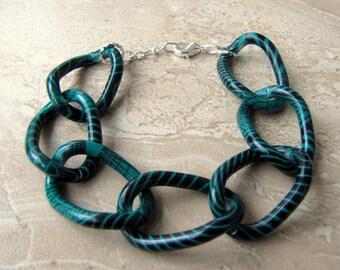 Chunky Chain Bracelet - Colorful Teal Green Big Chain Bracelet