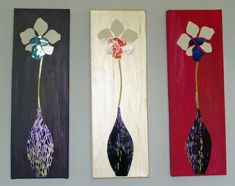 Iris Set of Three Glass Art on Canvas