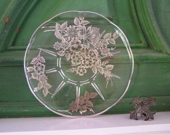Glass Cake Plate, Silver Overlay, Cambridge Caprice, Cambridge Glass, Glass Serving Plate, Floral Pattern, Silver Glass, Vintage