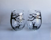 Set of 2 stemless wine glasses - Winter deer in the woods with doe and buck