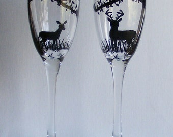 unpersonalized Deer in the woods champagne flute set
