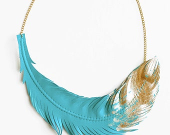 Turquoise Feather Necklace, Leather Feather Jewelry, Turquoise Jewelry, Feather Dipped in Gold