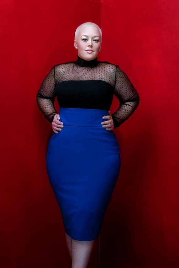 jibri plus size high waist pencil skirt royal blue by