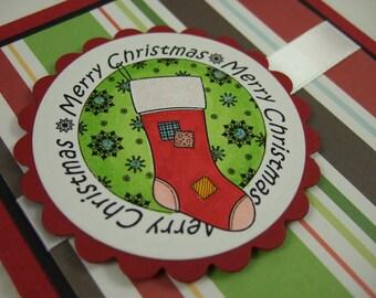 SALE - Christmas Card - Merry Christmas Stocking