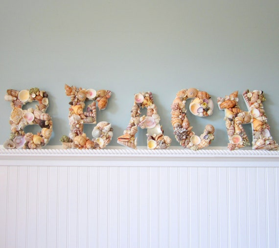 beach decor seashell letters nautical decor by. Black Bedroom Furniture Sets. Home Design Ideas