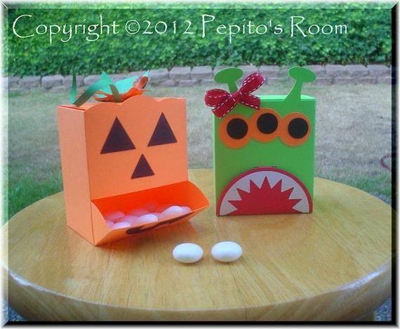 PRB28 Halloween Creatures Box Template SVG / Printable PDF Outline - Dispenser Box - Two designs - PR