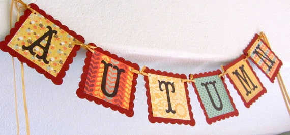 Beautiful Scalloped Square AUTUMN Thanksgiving  Banner/Garland, Fall, decoration - last one in this design