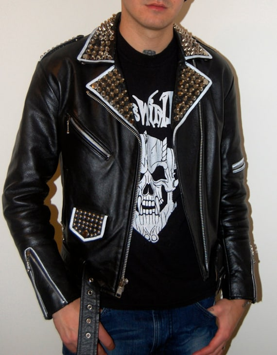 Unisex Straight to Hell Commando Punk Studded Motorcycle
