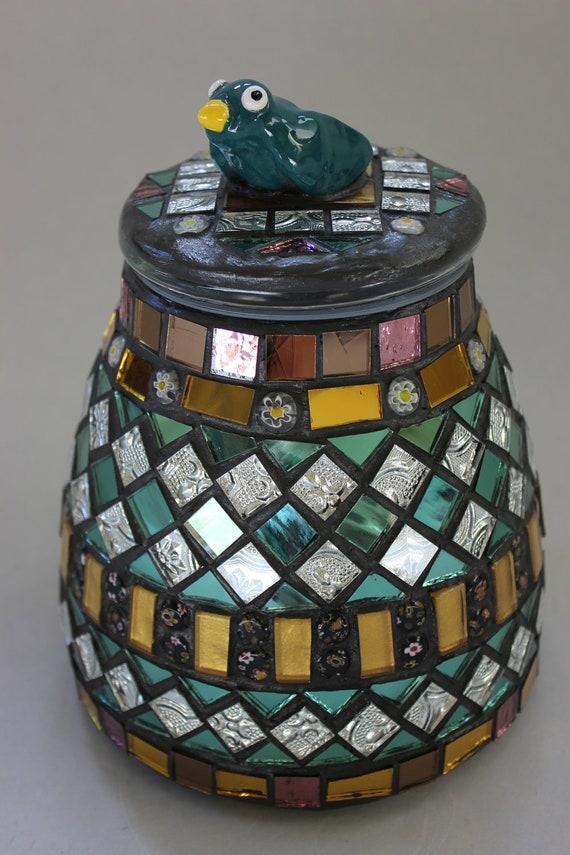 Mosaic, Decorative Jar with Bird on Top Item 1156