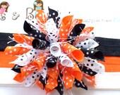 Halloween Lots Of Dots Orange Black White Boutique Baby Girl Korker Hair Bow Shimmery Elastic Headband