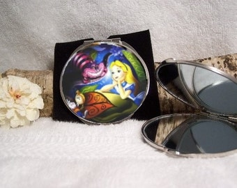 Alice in Wonderland Compact Mirror silver tone with pouch