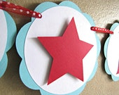 Red Star Happy Birthday Banner, Dr Suess Party Banner, Fourth of July Party Banner, American Girl Party Banner, Birthday Party Banner, Star