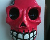 Hand Painted Dark Pink Skull with Bow Plaster Wall Skull/ Sugar Skull