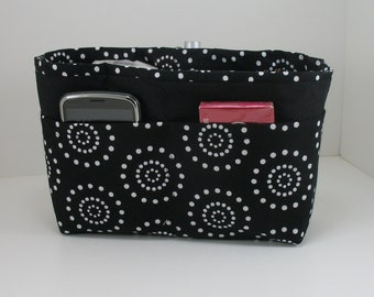 Purse Organizer Insert - Size Small Pictured- Black and White-5 Sizes available with options and choice of lining