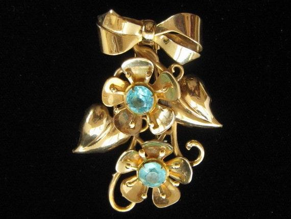 Reserved for H Vintage Large Blue Rhinestone Flower Brooch Dress Clip 1940s