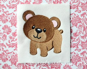 Bear Embroidery Design, INSTANT DIGITAL DOWNLOAD, Woodland Animals for Machine Embroidery 4x4