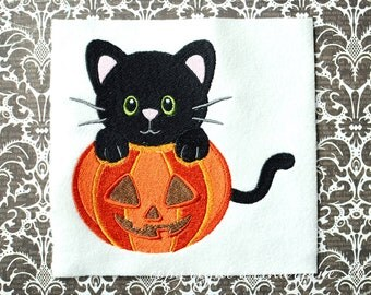 Cat and Pumpkin, INSTANT DIGITAL DOWNLOAD, Halloween Embroidery Design for Machine Embroidery 5x7