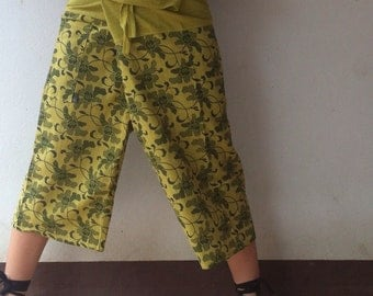 Vine Printed Fisherman Pant in Lemon Green