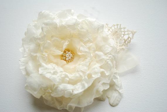 Ivory-champagne romantic rose-Weddings Accessories Hair Bride Bridesmaids-Silk,burlap,organza flowers