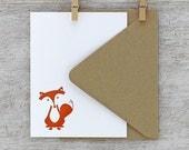 Fox Letterpress Note Card Set: Sitting Fox, Burnt Orange, Autumn, Fall (Set of 10)