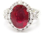 Oval cut rich RED RUBY & Diamonds antique style engagement ring Rub2400