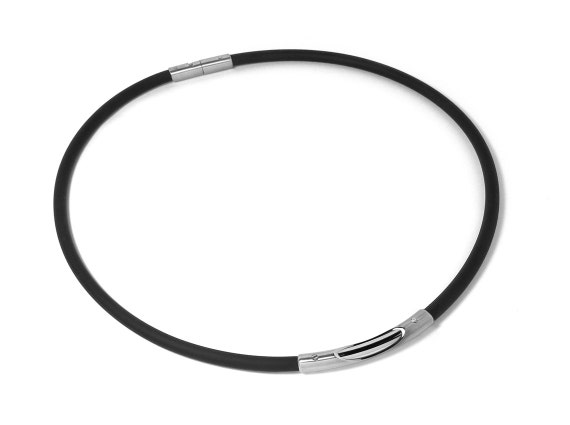 Two Tone Stainless Steel Tube and Rubber Necklace