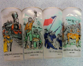 Vintage Ice Tea Glasses Colorado Rush to the Rockies Set of Four 1950s