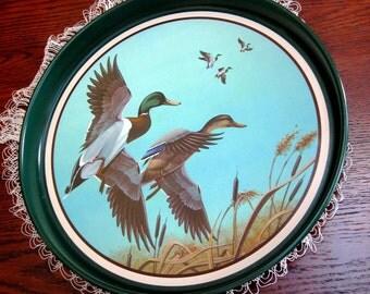 Vintage Metal Tray Avon Mallard Duck Chesapeake Collection 1980s