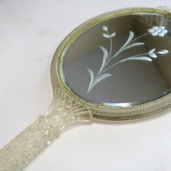 Vintage Hand Mirror Double Sided Lucite Flower Etched 1940s