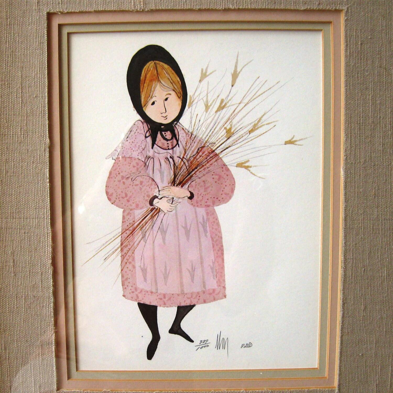 Vintage Art Print P Buckley Moss Amish Framed Art Flower Girl