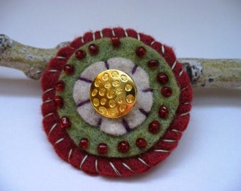 Rustic Brooch Dark Red Gold Handmade Gift for Her