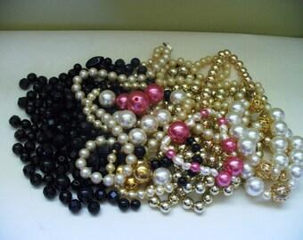 Vintage Jewelry Lot Destash Beads Pearl Black Pink Gold Beading Supplies