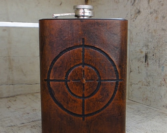 Stainless Steel & Tooled Leather Flask 8oz