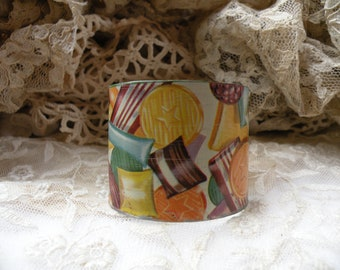 wide tin cuff bracelet christmas candy image rustic assemblage repurpose