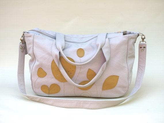 Leather Bag, Purse, XL Weekender, Leather Applique Tote, Silver Grey Leather Bag, Applique Bag - Summer Trends