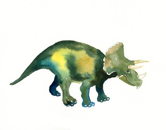 TRICERATOPS  Original watercolor painting 10x8inch