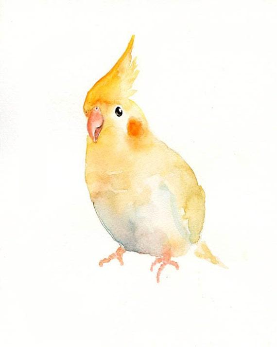COCKATIEL Original watercolor painting 8x10inch (vertical orientation)