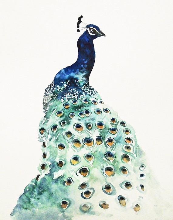 PEACOCK by DIMDIart Original watercolor painting 11X14inch