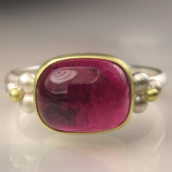 Pink Tourmaline Gemstone Ring - 18k Gold and Sterling Silver